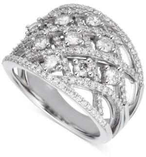 Macy's Diamond Crisscross Statement Ring (1-1/2 ct. t.w.) in 14k White Gold