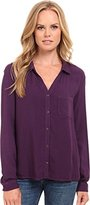 Three Dots Women's Classic Button Up Twill Shirt