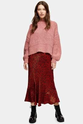 Topshop Womens Red Heart Satin Flounce Midi Skirt - Red