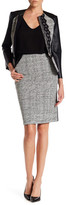 Oscar de la Renta Genuine Leather & Wool Blend Pencil Skirt