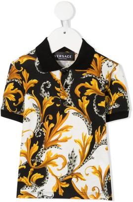 Versace Baroque-Print Short-Sleeved Polo Shirt