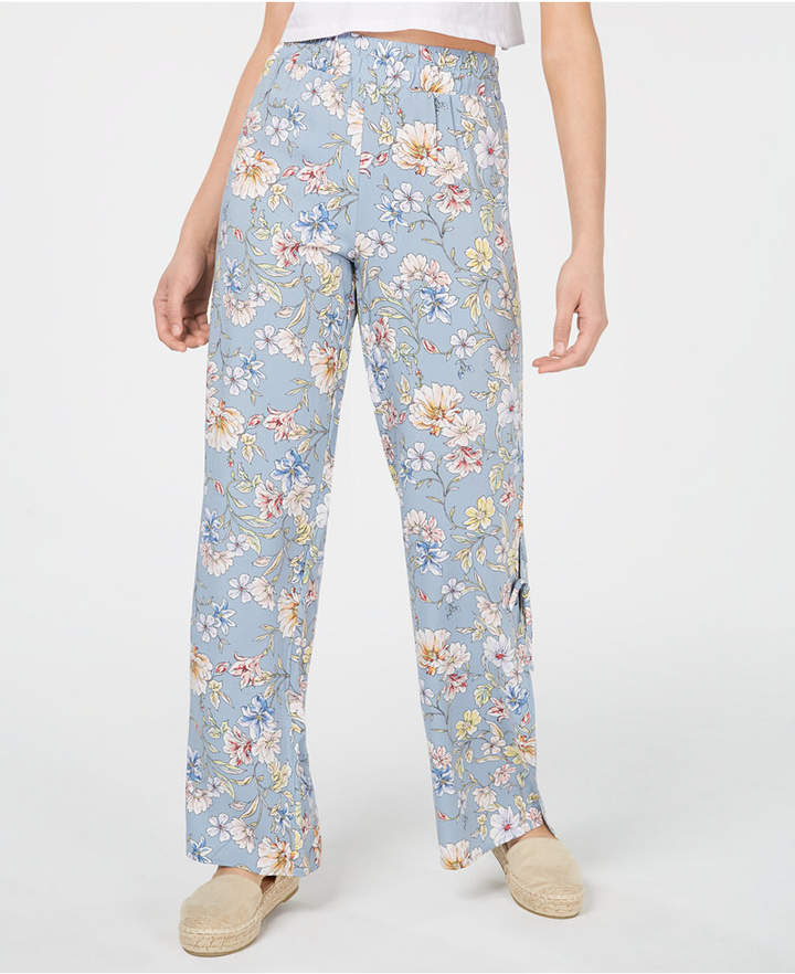 BeBop Juniors' Printed Pull-On Side-Slit Pants