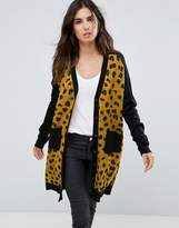 Liquorish Button Up Cardigan With Patch Pockets In Leopard