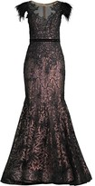 Thumbnail for your product : Mac Duggal Velvet Floral Applique Mermaid Gown