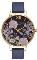 Olivia Burton Navy Dial Stainless Steel & Leather-Strap Watch
