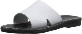 Jerusalem Sandals Bashan - Leather Wide Strap Slide Sandal | Black White
