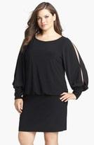 Xscape Evenings Embellished Cuff Blouson Jersey Dress (Plus Size)