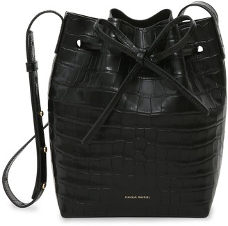 Mansur Gavriel Croc Embossed Leather Mini Bucket Bag - Black