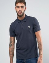 Ps By Paul Smith Zebra Logo Polo Slim Fit Pique In Charcoal