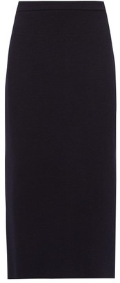 Alessandra Rich Wool Pencil Skirt - Navy
