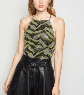 New Look Noisy May Sequin Animal Print Bodysuit