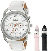 A Line a_line Women's AL-80012-02-WH-SSET Maya Stainless Steel Watch with Three Interchangeable Leather Bands