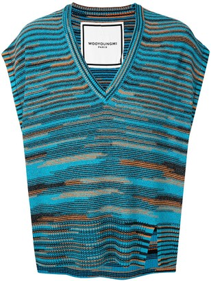 Wooyoungmi Abstract Print Striped Knit Vest