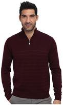Perry Ellis Solid Stripe Quarter Zip Sweater