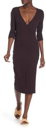 James Perse 3/4 Sleeve Surplice Midi Dress