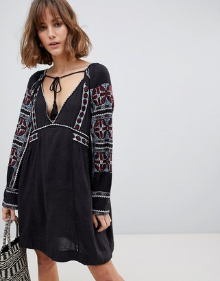 Free People All My Life embroidered shift dress-Black