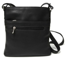Royce Leather Royce Triple Zip Crossbody Bag in Colombian Genuine Leather