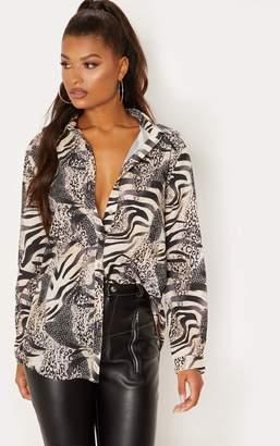 PrettyLittleThing Grey Animal Print Oversized Shirt