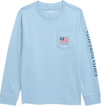 Vineyard Vines Baseball Flag Long Sleeve Pocket Graphic Tee