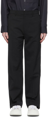 System Black Wool Side Split Trousers