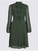 M&S Collection Mesh Ruffle Bubble Sleeve Tea Dress