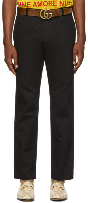Gucci Black Embroidered Logo Chino Trousers