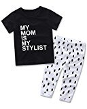 Fheaven 2PCS Kids Baby Girl MY MOM IS MY STYLIST Tops+ Dot Pants Casual Outfits Set (1T, Black)