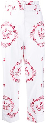 Simone Rocha Embroidered Paperbag Cropped Trousers