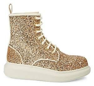 Alexander McQueen Women's Glitter Leather Combat Boots