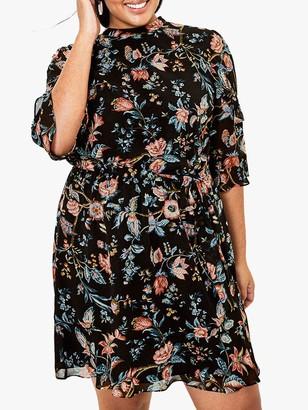 Oasis Curve Floral Print Dress, Black/Multi