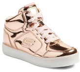 Skechers Girl's Energy Lights Metallic High Top Sneaker