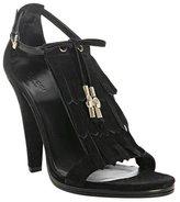 Gucci black suede fringe t-strap sandals