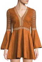 Haute Rogue Elle Crochet and Faux-Suede Flare Dress