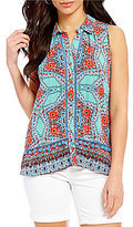 Democracy Printed Button Front Sleeveless Blouse