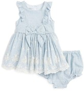 Infant Girl's Pippa & Julie Ruffle Chambray Dress
