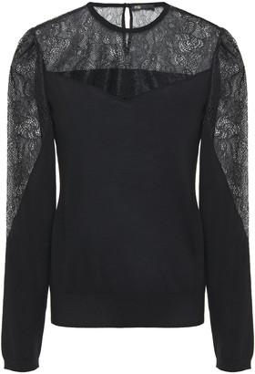 Maje Lace-paneled Wool Sweater