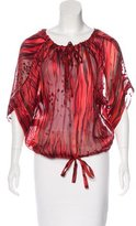Rachel Zoe Silk-Blend Embroidered Blouse w/ Tags