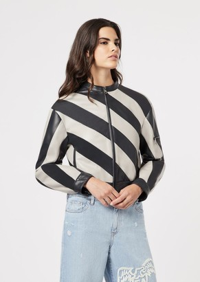 Emporio Armani Glove-Like Lamb Nappa Leather Bomber With Two-Tone Bands