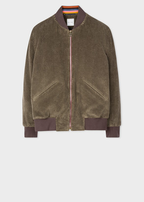 Paul Smith Men's Brown Corduroy Cotton Bomber Jacket