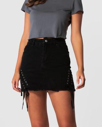 ONEBYONE - Women's Black Denim skirts - Kara Skirt - Size One Size, 6 at The Iconic