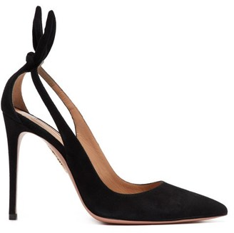 Aquazzura Bow Tie 105 Bow-embellished Suede Pumps - Black
