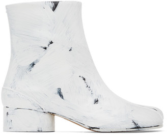 Maison Margiela Black and White Painted Tabi Low Heel Boots