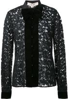 Carolina Herrera velvet trim lace shirt