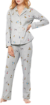 Joules Astrid Dog Print Pyjama Set, Grey