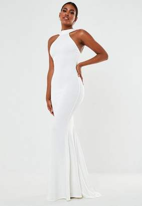 Missguided White High Neck Crepe Maxi Wedding Dress