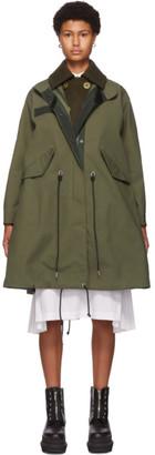 Sacai Khaki Cotton and Nylon Oxford Coat