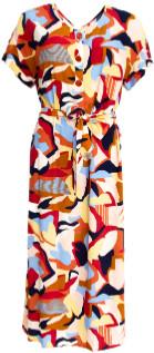 Des Petits Hauts Mix Midi Short Sleeved Tanao Dress - xsmall