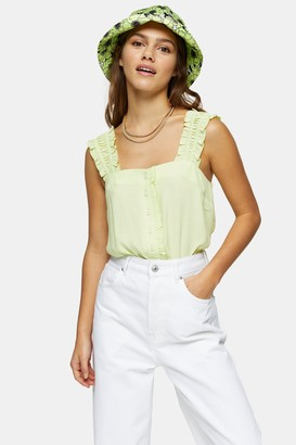 Topshop Womens Petite Lime Green Button Frill Cami - Lime