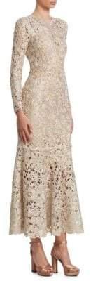 Oscar de la Renta Women's Bird's Nest Crochet Flounce Dress - Gold - Size Small