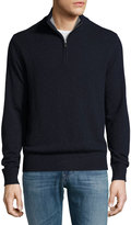 Neiman Marcus Relaxed Sweater with Zip Collar, Blue Night